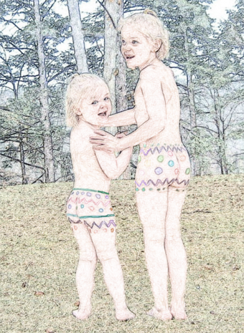sketch of 2 girls with easter egg designs on body