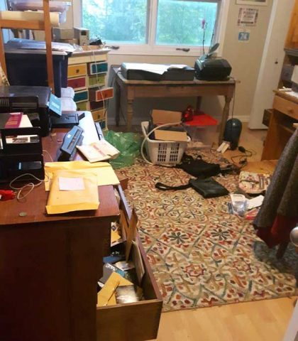 office mess after burglary